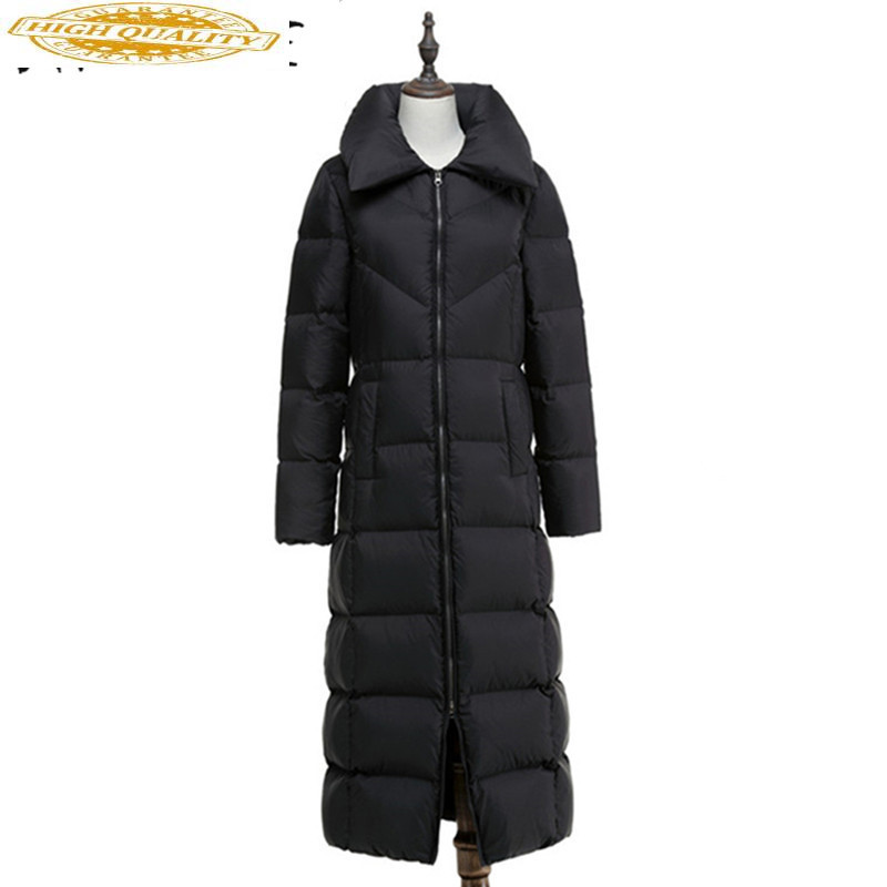 European Fashion Down Coat Winter Jacket Women 90% White Duck Down X-Long Warm Stand Collar Black Slim Style Casual Thicken XC05