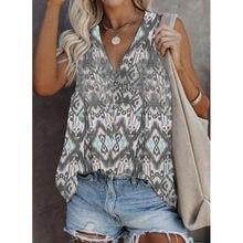 V Neck Women Sleeveless T-Shirt Printed Ladies Plus Size Vest Summer Retro Ethnic Tank Top Lady Casual Off Shoulder T-Shirt