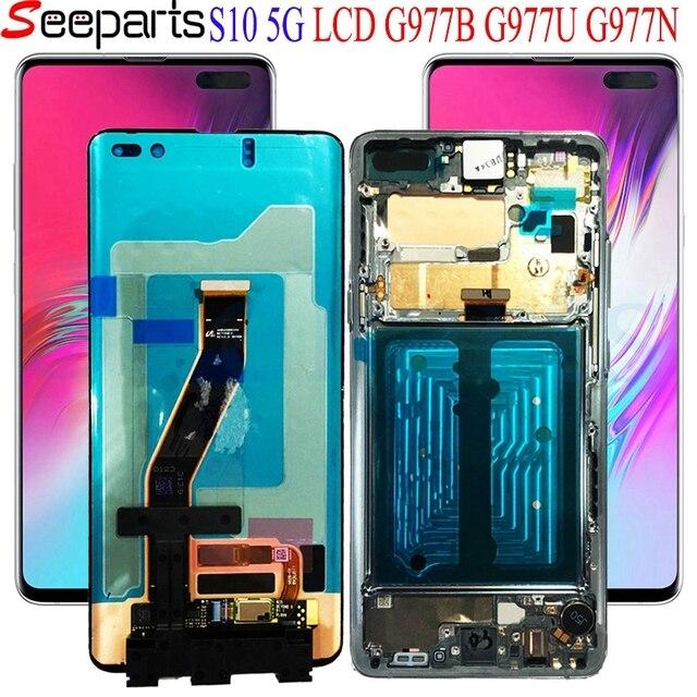 """Noir 6.7 """"AMOLED LCD pour SAMSUNG S10 LCD G977N affichage SM G977U écran tactile numériseur pour SAMSUNG Galaxy S10 5G LCD G977 LCD"""