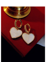 Heart Drop Earrings For Women Solid 925 Silver White Shell Ear Clip Sense Of Luxury Simple Accessories Temperament Fine Jewelry