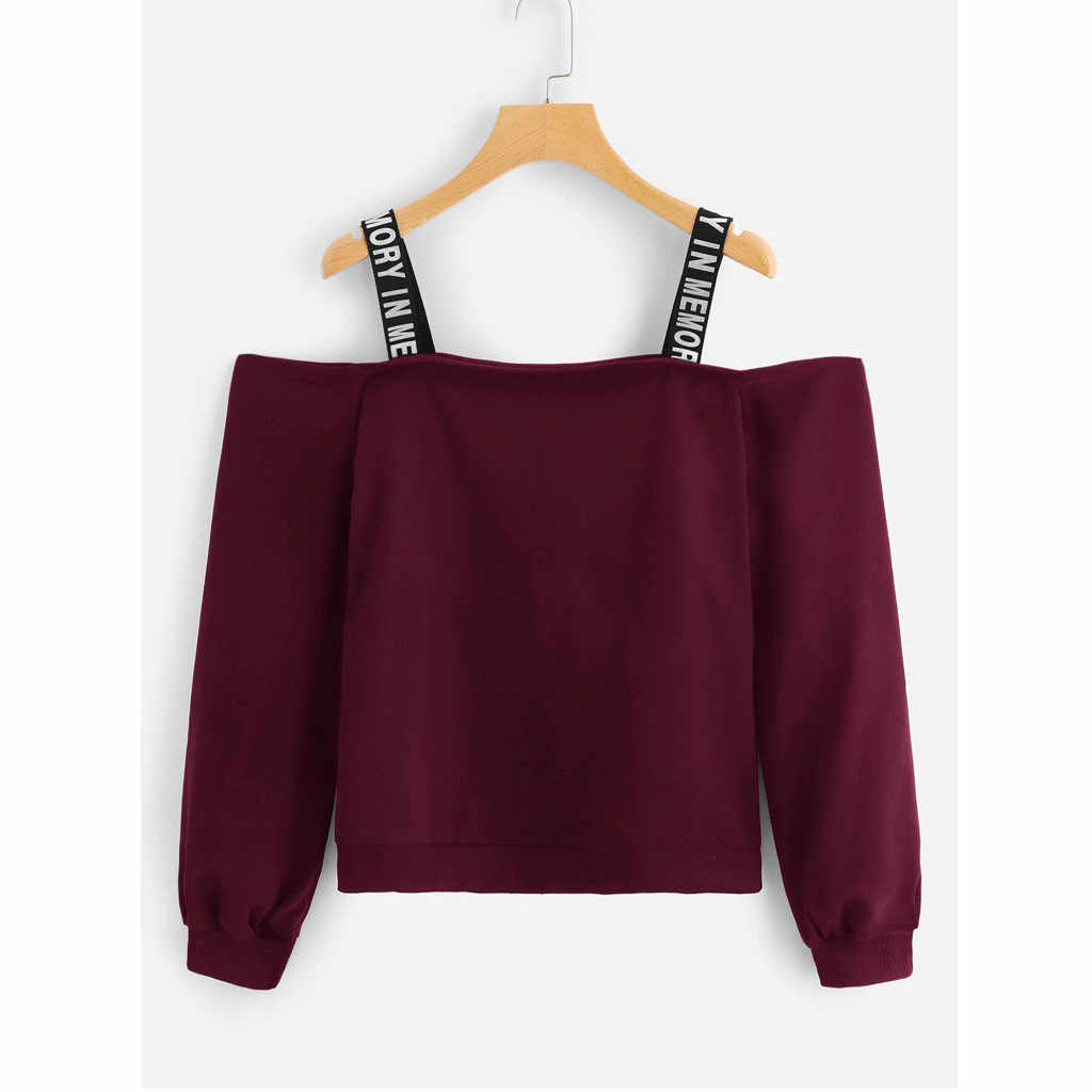 Vrouwen Hoodies Sweatshirt Sexy Off Shoulder Cropped Top Hoodie Lange Mouw Sweatshirt Brief Print Camis Trui Top Blusas #20