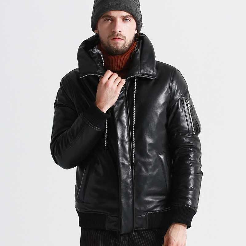 Ayusue geniune jaqueta masculina pele de carneiro couro ganso para baixo casaco inverno quente grosso outwear parka hombre Invierno18-H25 # mf320