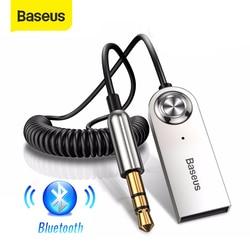 Baseus-adaptador Aux Bluetooth para coche, conector USB 3,5 de 5,0mm, receptor de altavoz, Kit de coche manos libres, transmisor de Audio y música