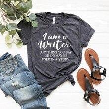 Camisa engraçada do caderno, eu sou uma camisa de escrita, camisa novidade, camisa de livros, presentes de autentista, livro amante engraçado hipster tops-l921