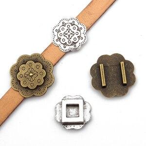 6 шт. 13*2 мм Двухслойное тиснение в форме цветка ползунок разделители для плоского кожаного шнура