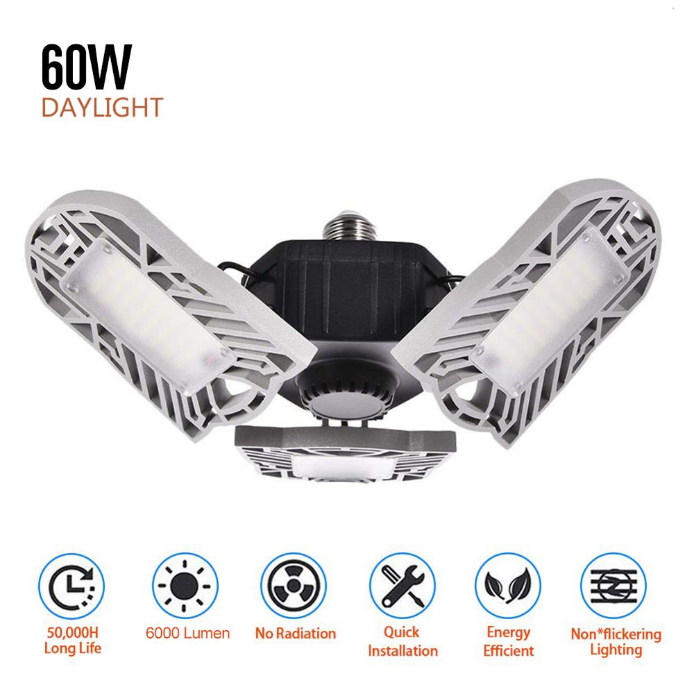 144 LED Garage Lights 60W E26 LED Deformable Ceiling Light Shop Lighting Industrial Lamps With 3 Adjustable Panels For Workshop