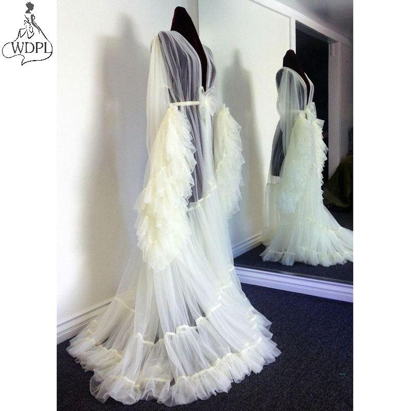 Cream Layered Tulle Dressing Gown Long Sleeve Sweep Train Robe De Soiree See Through Ruffles Pregnant Women Photo Shoot