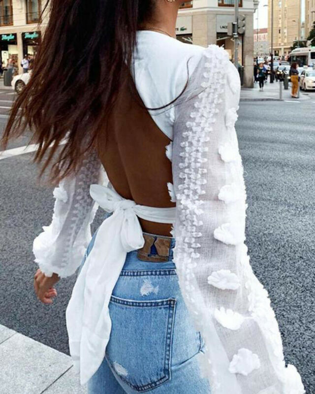 Spring New Women Lace Puff Sleeve Bandage Crop Top Blouse Deep V-Neck Sexy Ladies Shirts Solid Black White Blouses Tops