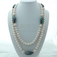 N112214 55'' White Pearl Black Macarsite Blue Stone Long Necklace(China)