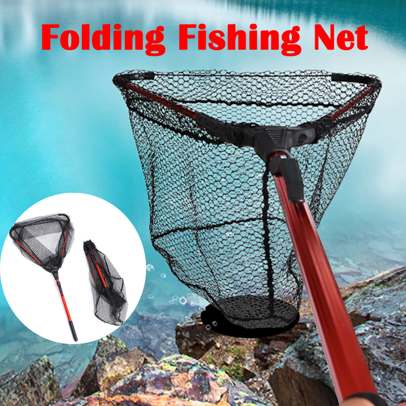 Folding Fishing Net Retractable Fishing Brail Blue Soft Rubber Landing Net Eva Handle Fly Cheap Fishing Nets Fishing Nets Tools
