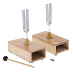 2 шт., вилка для настройки 440 Гц с деревянной резонансной коробкой и молотком, акустический инструмент