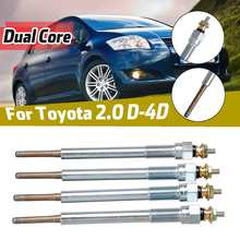 4pcs Dual Core Diesel Heater Glow Plugs Replacement For Toyota Avensis Corolla Dyna Hiace/Hilux Land Cruiser/Previa RAV4 2.0D 4D