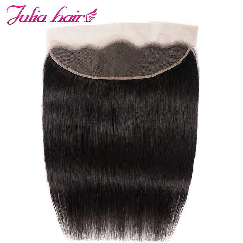 Peruwiańskie proste włosy ludzkie 3 wiązki z przednim wstępnie oskubane Julia Remy włosy 13*4 ucho do ucha koronkowe przednie z wiązkami włosów