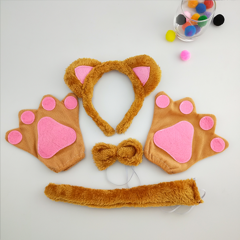 Boy Girl Kids Brown Fox Cat Headband Bow Tie Tail Paws Gloves Cosplay Costume Set  Party Fancy Dress Up Props Halloween Carnival