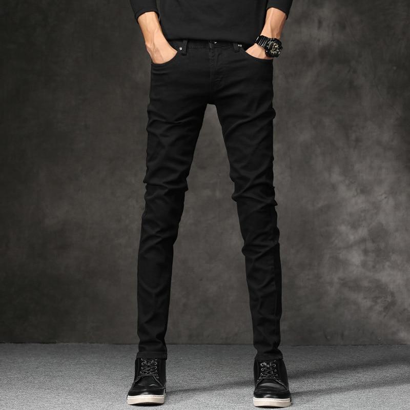 Korean Style Fashion Men Jeans Stretch Black Color Casual Pencil Pants Elastic Tight Trousers Streetwear Narrow Skinny Jeans Men