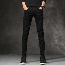 цена на Korean Style Fashion Men Jeans Stretch Black Color Casual Pencil Pants Elastic Tight Trousers Streetwear Narrow Skinny Jeans Men