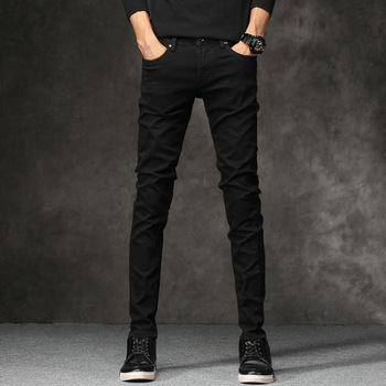 Korean Style Fashion Men Jeans Stretch Black Color Casual Pencil Pants Elastic Tight Trousers Streetwear Narrow Skinny Jeans Men newspapers pattern narrow feet jeans