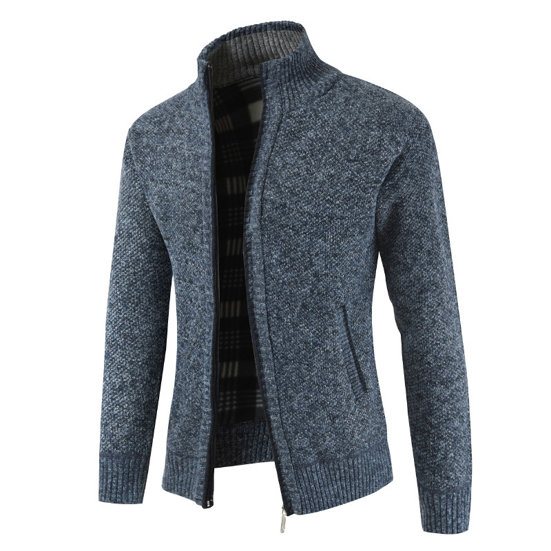 Foreign Trade Wholesale Knitted Cardigan Men's Thin Autumn and Winter Korean Trend Collar Sweater Casual Coat Zipper Sweater Men