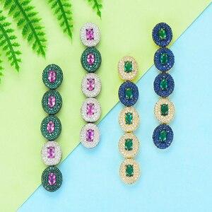 Image 2 - GODKI boucles doreilles pour femmes, boucles doreilles de luxe en forme de goutte deau, en Zircon cubique, de dubaï, indien, tendance, pour mariage