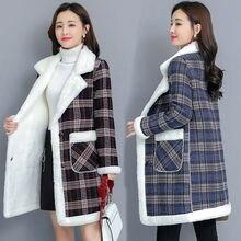Женское клетчатое шерстяное пальто, тонкая флисовая куртка
