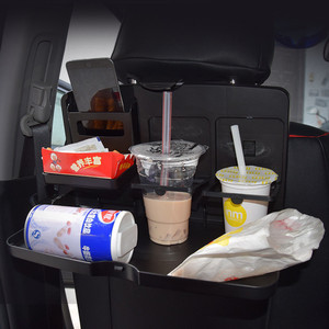 Image 3 - Universal Car Cup Holder Organizer Car Front Seat Back Table Drinks Folding Cup Holder Stand Desk Black Trays