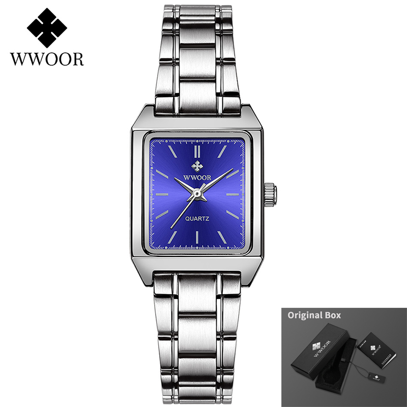 WWOOR Women Bracelet Watches Top Brand Luxury Dress Ladies Small Square Wrist Watch Elegant Quartz Watch Female relogio feminino