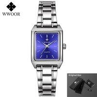 Wwoor mulheres pulseira relógios marca superior vestido de luxo senhoras pequeno quadrado relógio de pulso elegante relógio de quartzo feminino relogio feminino|Relógios com Pulseira| |  -