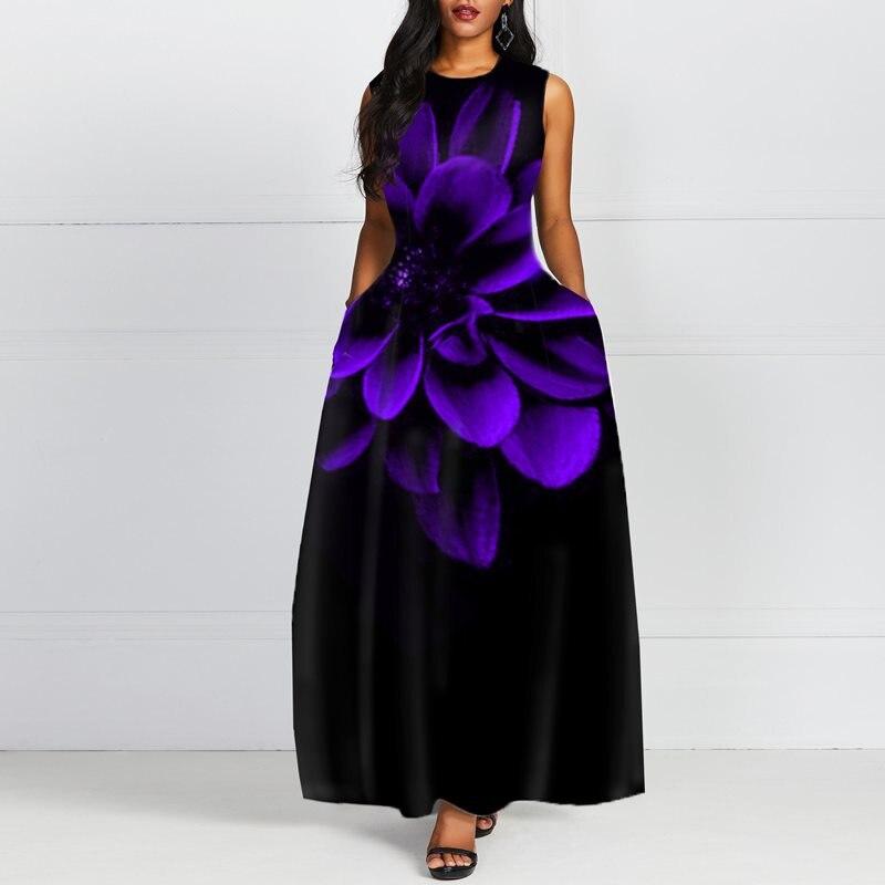 Imprimer Maxi robe femmes sans manches fleur 2019 mode longue violet noir robes élégant rétro casual fête dame robes M-2XL