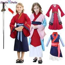Mulan cosplay vestido para meninas mushu dragão cosplay mulan traje crianças trajes de palco de halloween trajes chineses hanfu vestido
