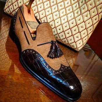 Men Genuine Casual Loafers Pu Leather Shoes Dress Brogue Spring  Classic Male F449