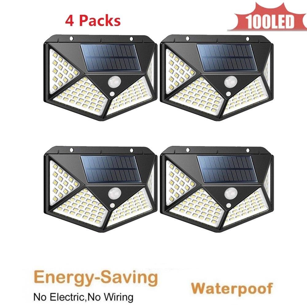 100 LED Solar Light Outdoor Solar Lamp PIR Motion Sensor Solar Panel Night Security Wall Light Garden Yard Path Waterproof 4 Sid
