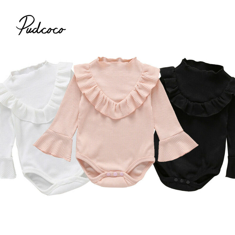 2019 Infant Newborn Baby Girls Boys Long Sleeves Ruffles Sunsuit White Pink Black Jumpsuit Bodysuit Playsuit Solid Casual Outfit