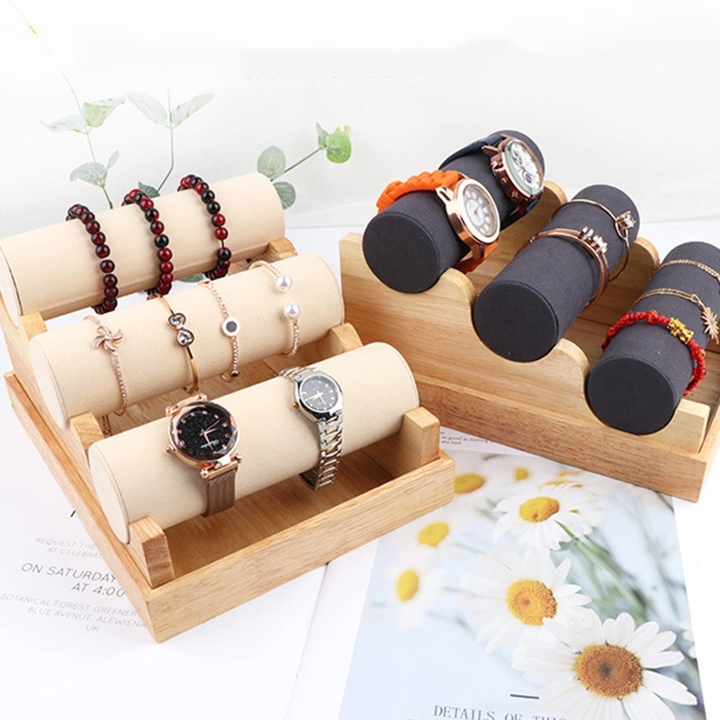 Wood 3 Tier Bracelet Watch Stand Holder Jewelry Showcase Display Storage Necklace Bangle Organizer
