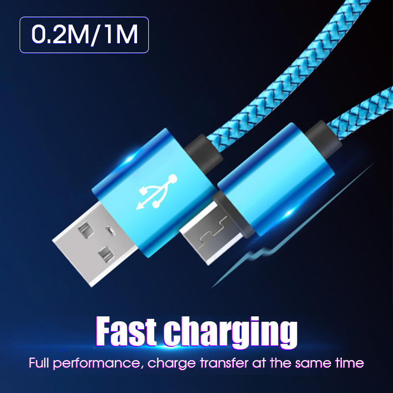 0.2m 1m Fast Charging Micro USB Cable For Xiaomi Nylon Braided USB Type C Cable For Samsung For Huawei Android Phone Cables image