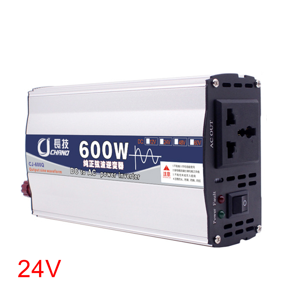 600W <font><b>1000W</b></font> Supply Practical Car Portable <font><b>12V</b></font> 24V To 220V Transformer Adapter Power <font><b>Inverter</b></font> Pure Sine Wave Surge Protection image