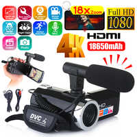 Multifunctional 4K HD Camera Camcorder IR Night Vision Video Camcorder 3 Inch 1080P HD LCD Screen 18X Zoom Camera With Mic