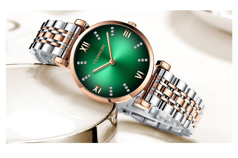 Woman Watch 2019 GUANQIN GS19122 Quartz Luxury Brand Ladies Watch Green Waterproof Simple Fashion Wrist Watch Tool Dropshipping (6)