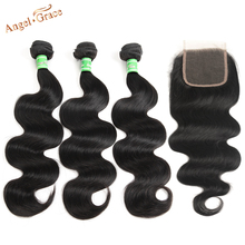Braziliaanse Body Wave Bundels Met Sluiting 3 Bundels Remy Haar Bundels Met Sluiting Angel Grace Human Hair Bundels Met Sluiting