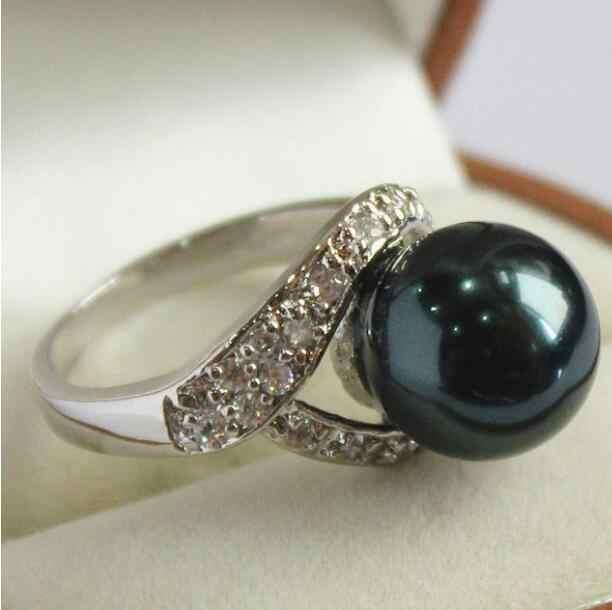 ジュエリーパールリング女性のシルバーメッキクリスタル装飾 & 12 ミリメートル黒シェル真珠の指輪 (#7 8 9 10) 送料無料