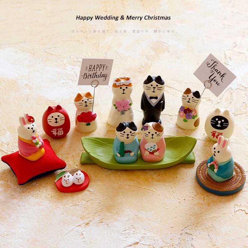 Japanese Kawaii Cartoon Maneki Neko Mascot Shiba Inu Rabbit Royal Wedding Decoration Family Party Sakura Screen Miniature Figure