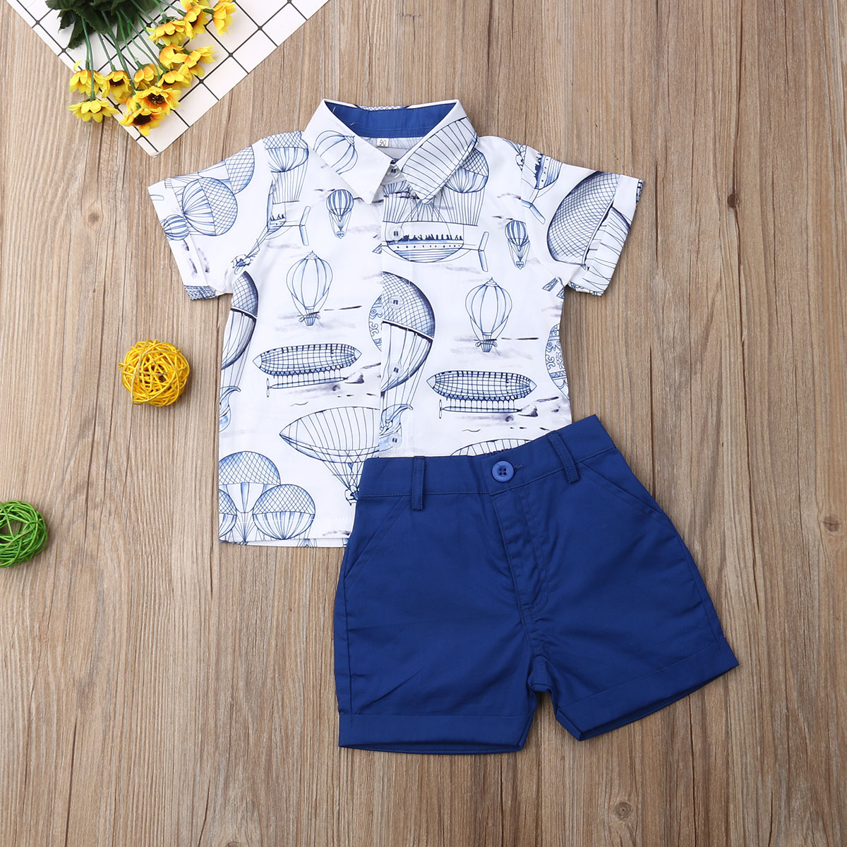 Pudcoco Summer Toddler Baby Boy Clothes Hot Air Balloon Camouflage Print Shirt Tops Short Pants 2Pcs Outfits Clothes Summer