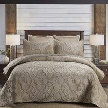 CHAUSUB, плюшевое покрывало, Хлопковое одеяло, набор из 3 предметов, набор покрывал, постельное покрывало, наволочка, стеганое одеяло королевского размера