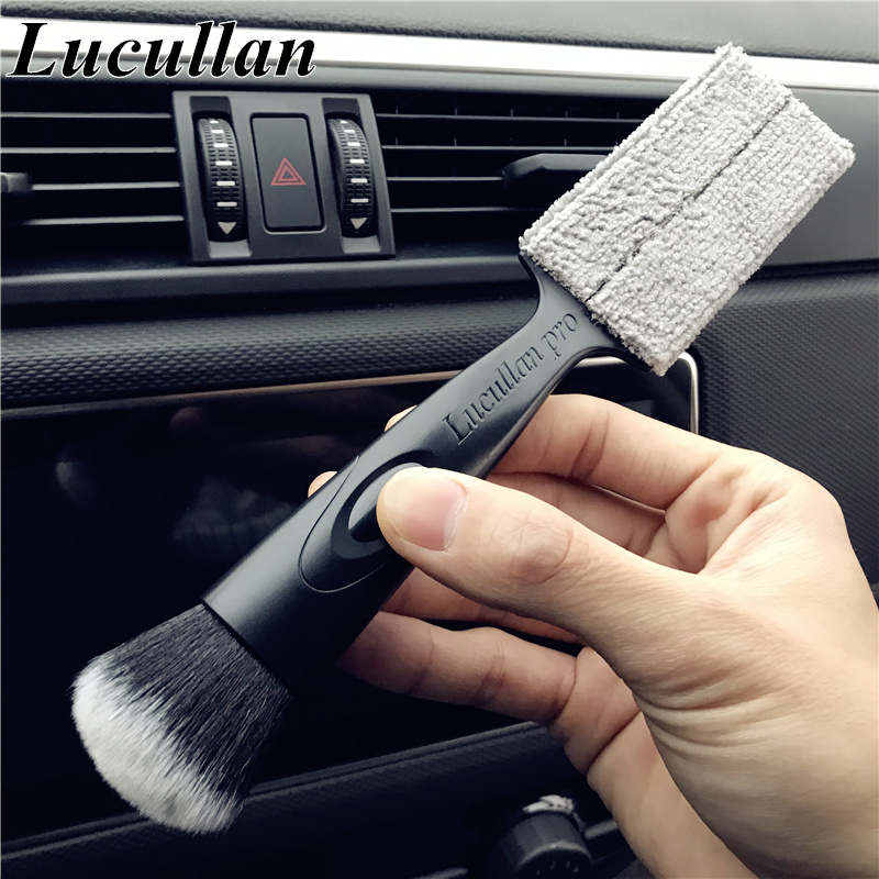 Lucullan Double Side Multi-function Interior Cleaning Brushes Car Wash Tools For Air Conditioning Panel Gap Dusting Remove