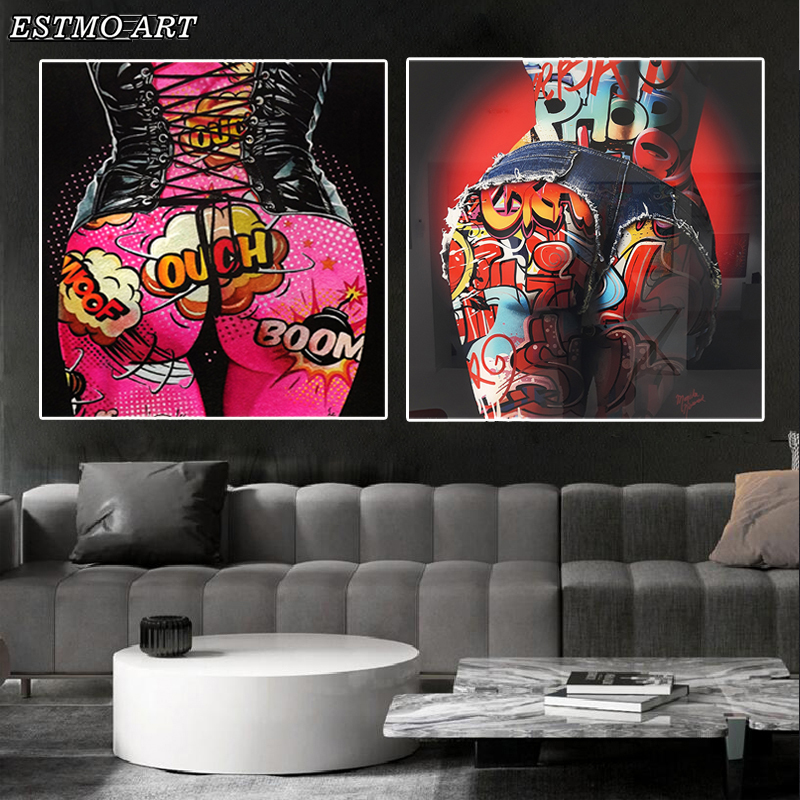 Canvas Painting Pictures Pop Graffiti Sexy Ass Wall Art Colorful Posters and Prints Home Decoration Artwork Canvas Art Cuadros