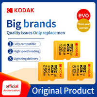 Kodak Original U3 A1 V30 Cartão Micro SD de 128GB 32GB 10 64GB Classe 256 GB 512 gb 32 64 128 256 GB Cartão de memória Cartão de Memória Do Telefone de Vídeo