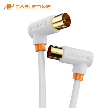 CABLETIME Digital TV Cable 90 degree M/F Coaxial Satellite Antenna Cable Video Cable for HD Television STB Line C317 1