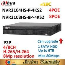 Dahua KIT de sécurité NVR2104HS P 4KS2 CCTV 4CH Smart 1U 4POE Lite enregistreur vidéo réseau jusquà 8MP NVR2108HS 8P 4KS2 8POE 8CH