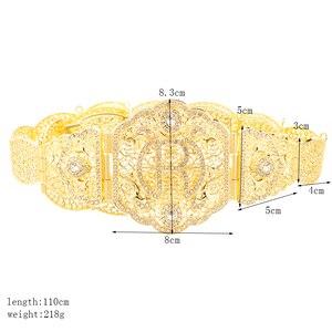 Image 5 - Marokański R marka metalowe pasy dla kobiet złoty biżuteria łańcuch talii pełny kryształ górski pasy ślubne słynny maroko biżuteria