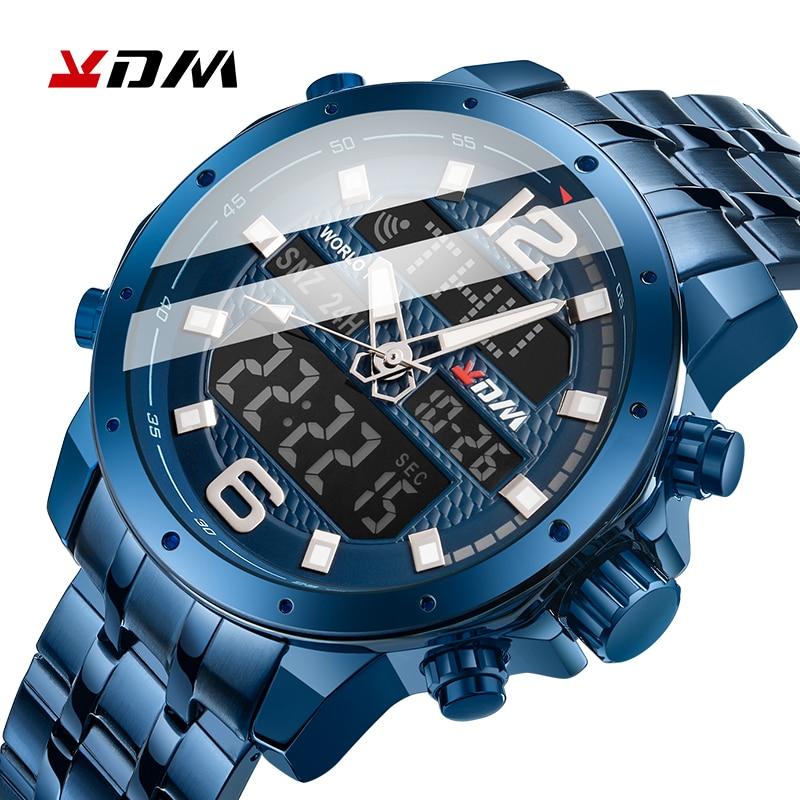 KDM Men Luxury Watches Stainless Steel Blue Clock Waterproof Dual Display Quartz Digital Male Wristwatch 2019 Reloj Hombre