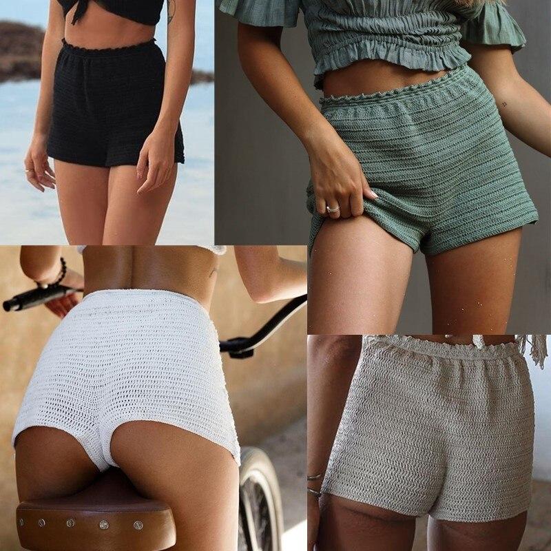 2020 Hand Crochet Women Shorts Bikini Bike Gym Bottom Beach Women Swimwear Summer Boho Pants